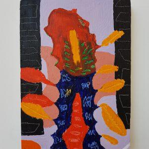 Uitloop | Origineel | Olieverf en oilstick | 21 x 30 cm | Johan Kleinjan | Gallery Untitled