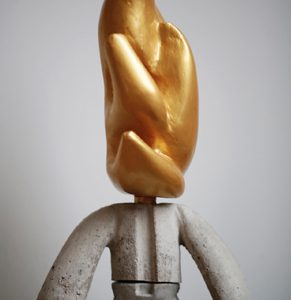 Goldflame | Hoogte: 46 cm | Coated PU & Concrete in Cast | Origineel | Sander Buijk | Gallery Untitled