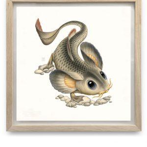 Cyprinomusculus Macrommatus | 55,5 x 55,5 cm | Aquarel, acrylverf, waspotlood in handgemaakte lijst | Origineel | Raoul Deleo | Gallery Untitled
