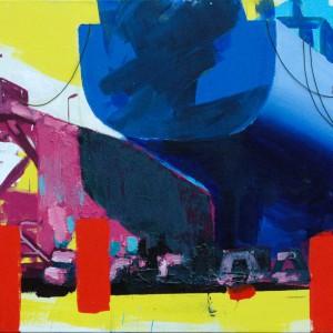 Drydock (2015) | 130 x 170 cm | Acrylverf, emulsie, zand en touw op canvas | Origineel | Sasja Hagens | Gallery Untitled