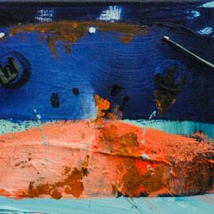 Empty Ship #2 | 20 x 50 cm | Acrylverf, emulsie, zand op canvas | Origineel | Sasja Hagens | Gallery Untitled