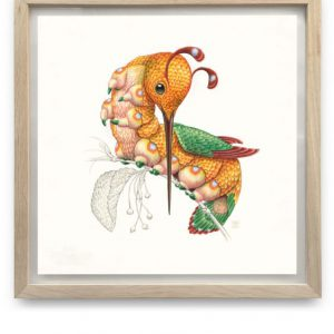 Peripatus Mellirostratus | 55,5 x 55,5 cm | Aquarel, acrylverf, waspotlood in handgemaakte lijst | Origineel | Raoul Deleo | Gallery Untitled