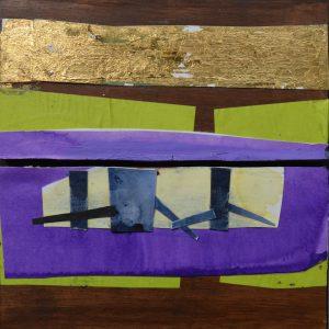 Garden of Hesperides #14 | 26 x 27 cm | Papier, acrylverf, bladgoud op paneel | 2016 | Sasja Hagens | Gallery Untitled