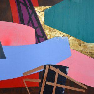 Garden of Hesperides #25 | 90 x 135 cm | Papier, acrylverf, bladgoud op paneel | 2016 | Sasja Hagens | Gallery Untitled