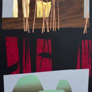 Garden of Hesperides #26 | 135 x 90 cm | Papier, acrylverf, bladgoud op paneel | 2016 | Sasja Hagens | Gallery Untitled