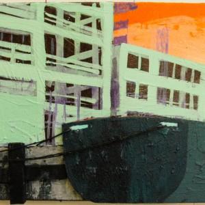 Kade | 50 x 110 cm | Acrylverf, emulsie, styrofoam, zand en touw op canvas | Origineel | Sasja Hagens | Gallery Untitled