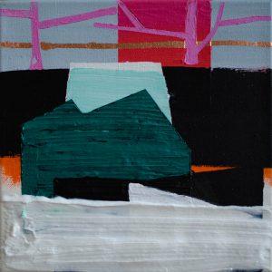 Kalypso #12 | 40 x 40 cm | Acrylverf, metaalblad en emulsie op canvas | Sasja Hagens | Gallery Untitled