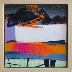 Kalypso #14 | 35 x 35 cm (incl. lijst) | Acrylverf, papier en emulsie op paneel | | Sasja Hagens | Gallery Untitled