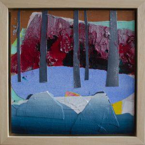 Kalypso #15 | 35 x 35 cm (ingelijst) | Acrylverf, papier, zand en emulsie op paneel | Sasja Hagens | Gallery Untitled