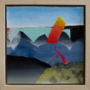 Kalypso #16 | 35 x 35 cm (ingelijst) | Acrylverf, papier, zand en emulsie op paneel | Sasja Hagens | Gallery Untitled