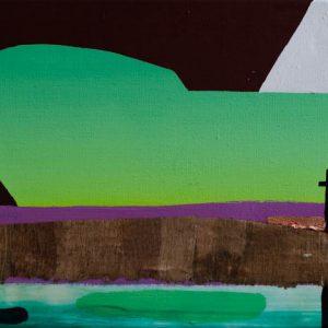 Kalypso #18 | 50 x 110 cm | Acrylverf, papyrus, metaalblad en emulsie op canvas | Sasja Hagens | Gallery Untitled