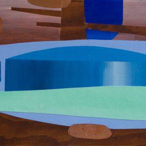 Kalypso #19 | 45 x 90 cm | Acrylverf, metaalblad en emulsie op paneel | Sasja Hagens | Gallery Untitled