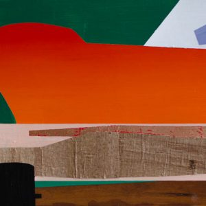 Kalypso #20 | 45 x 90 cm | Acrylverf, papyrus, metaalblad en emulsie op paneel | Sasja Hagens | Gallery Untitled