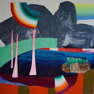 Kalypso #3 | 230 x 230 cm | Acrylverf, papyrus en emulsie op canvas | Sasja Hagens | Gallery Untitled