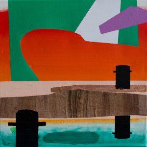 Kalypso #8 | 60 x 60 cm | Acrylverf, papyrus, metaalblad en emulsie op canvas | Sasja Hagens | Gallery Untitled
