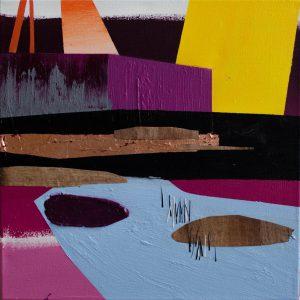 Kalypso #9 | 60 x 60 cm | Acrylverf, papyrus, metaalblad, zand en emulsie op canvas | Sasja Hagens | Gallery Untitled