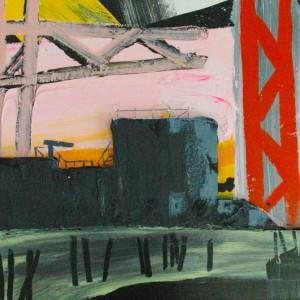 Pijler Oosterscheldekering (2015) | 65 x 80 cm | Acrylverf , styrofoam, emulsie op canvas | Origineel | Sasja Hagens | Gallery Untitled