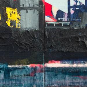 Platform 5 (2014) | 18 x 48 cm | Acrylverf, zand, emulsie op paneel | Origineel | Sasja Hagens | Gallery Untitled