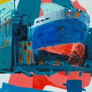 Rotterdam Drydock #2 (2015) | 80 x 65 cm | Acrylverf, emulsie op canvas | Origineel | Sasja Hagens | Gallery Untitled