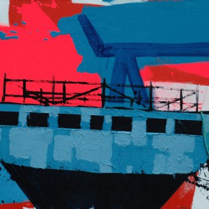 Shipyard (2015) | 130 x 170 cm | Acrylverf, emulsie, zand, touw op canvas | Origineel | Sasja Hagens | Gallery Untitled