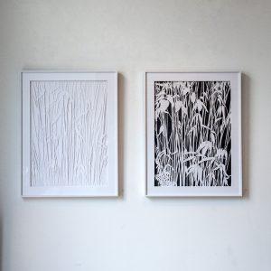 Bamboo #1 en #2| 51 x 66 cm | Origineel | Zuurvrij papier en potlood (incl. verdiepte lijst en glas met passe-partout verlijmd op dibond | Zaida Oenema | Galerie Untitled
