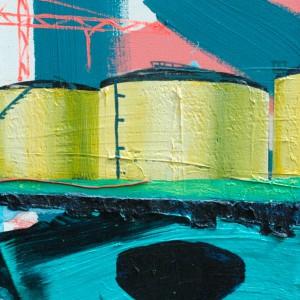 Tankterminal #3 (2015) | 80 x 65 cm | Acrylverf, emulsie op canvas | Origineel | Sasja Hagens | Gallery Untitled