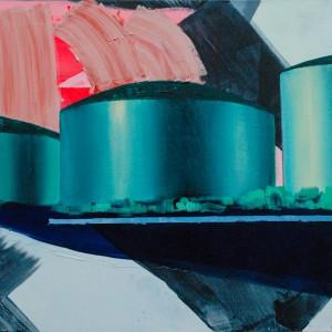 Tankterminals Rotterdam (2016) | 150 x 170 cm | Acrylverf, emulsie op canvas | Origineel | Sasja Hagens | Gallery Untitled