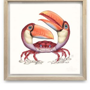 Tucanogemina Carcinoforma | 55,5 x 55,5 cm | Aquarel, acrylverf, waspotlood in handgemaakte lijst | Origineel | Raoul Deleo | Gallery Untitled