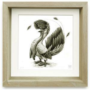 Maiestigallus Maxilobus | 15 x 15 cm | Giclee print op Hahnemühle papier in handgemaakte houten lijst | Oplage 25 + 2AP | Raoul Deleo | Gallery Untitled