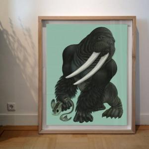 Gorillodobenus poseidonides (2015) | 114 x 95 cm (incl. lijst) | Aquarel/Acryl, Waspotlood in handgemaakte houten lijst | Raoul Deleo | Gallery Untitled