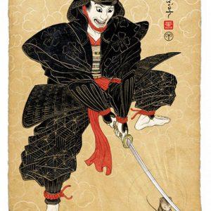 The Moussiah, verse 8. Samurai Redemption | Oplage: 25 | 55 x 75 cm | Hoge kwaliteit fine art giclee print op dibond, met passe-partout in houten lijst | Raoel Deleo | Gallery Untitled