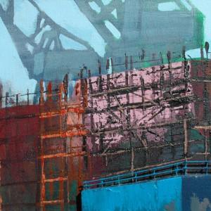 Shipbuilding (2007) | 51 x 110 x 7 cm | Acrylverf, styrofoam op canvas | Origineel | Sasja Hagens | Gallery Untitled
