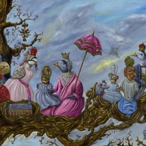 Een familiebijeenkomst op een vroege lentedag (2015) | 60 x 40 cm | Olieverf op doek | Pepijn van den Nieuwendijk | Gallery Untitled