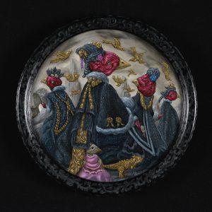 Damens van de wind | Origineel | Diameter 30 cm | Olieverf op paneel (incl. lijst) | Pepijn van den Nieuwendijk | Gallery Untitled
