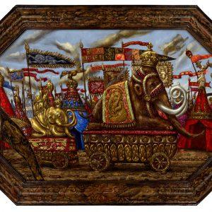 Mammoet parade | Origineel | 72,5 x 49 cm | Olieverf op paneel | Pepijn van den Nieuwendijk | Gallery Untitled