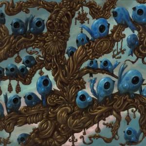 Blauwe vogels, bomen van goud (2009) | 100 x 70 cm | Olieverf op doek | Pepijn van den Nieuwendijk | Gallery Untitled