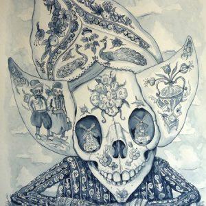 Idylle | Origineel | 80 x 65 cm | Gouache op papier (incl. lijst) | Pepijn van den Nieuwendijk