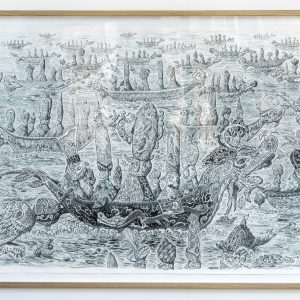 Drakenboot Armada | Formaat: 167 x 127 cm | Acrylinkt op aquarelpapier (incl. UV-werend perspex en houten lijst | Origineel | Pepijn van den Nieuwendijk | Gallery Untitled
