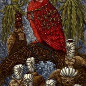 Koning Bubo bubo De Rode en zijn adviseurs (2011) | 120 x 60 cm | Olieverf op doek | Pepijn van den Nieuwendijk | Gallery Untitled
