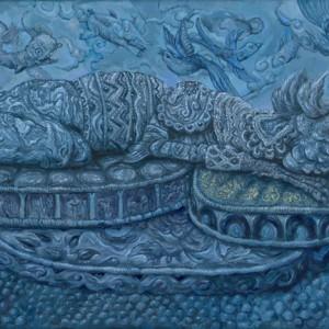 Stille euforie (Opiumbird) (2014) | 45 x 26,5 cm | Olieverf op doek | Pepijn van den Nieuwendijk | Gallery Untitled
