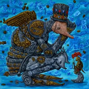 De ridder van voorspoed en welvaart (2011) | 60 x 60 cm | Olieverf op doek | Pepijn van den Nieuwendijk | Gallery Untitled | In collectie Marnix van Peteghem