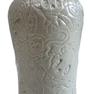 Smoking skulls vaas grijs | Origineel | Hoogte 19 cm | Porselein | Pepijn van den Nieuwendijk