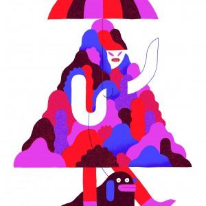 Umbrelladog1 | 59,4 x 42 cm | Zeefdruk van drie kleuren | Oplage 20 | Levi Jacobs | Galerie Untitled | Beschikbaar