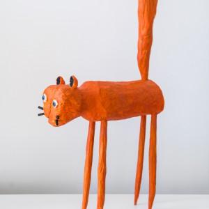 Untitled (Oranje Kat) | Hoogte: 76 cm (L: 36 cm) | Hout | Origineel | Peter Bastiaanssen | Gallery Untitled