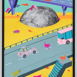 Wilfried Island (2016) | 70 x 105 cm | frescolithe, gouache en tempelinkt op papier bevestigd op aluminium | Origineel | Johan Kleinjan | Gallery Untitled