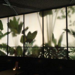 Botanic Wall example (verschillende opties mogelijk) | 400 x180 cm | RVS, plexiglas, LED-strips, digitale kleuren print | REM Atelier | Gallery Untitled