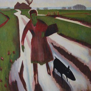 Yapping Altink, koopvrouw op landweg, 1925 – 140x110cm – Wasverf op canvas – Origineel – Peter Bastiaanse | Gallery Untitled