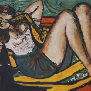 Yapping Beckmann, woman with madoline in yellow and red 1950 – 45x60cm – Acrylverf op canvas – Origineel – Peter Galery| Gallery Untitled