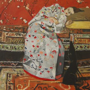 Yapping Breitner, meisje in witte kimono 1895 – 140x130cm – Acrylverf op canvas – Origineel – Peter Bastiaanse | Gallery Untitled