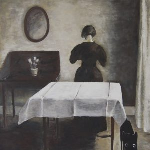 Yapping Hammershoi, vrouw in kamer 1910 – 80x80cm – Acrylverf op canvas – Origineel – Peter Bastiaanse | Gallery Untitled